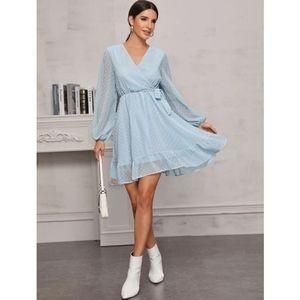 SHEIN Romantic Swiss Dot Knot Side Ruffle Dress